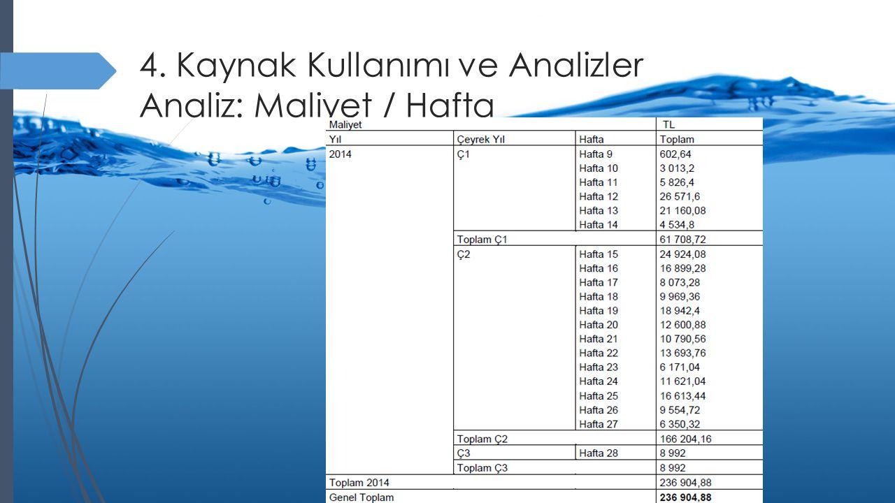 4. Kaynak Kullanımı ve Analizler Analiz: Maliyet / Hafta