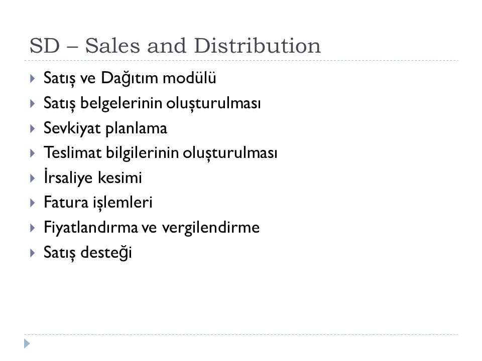 SD – Sales and Distribution