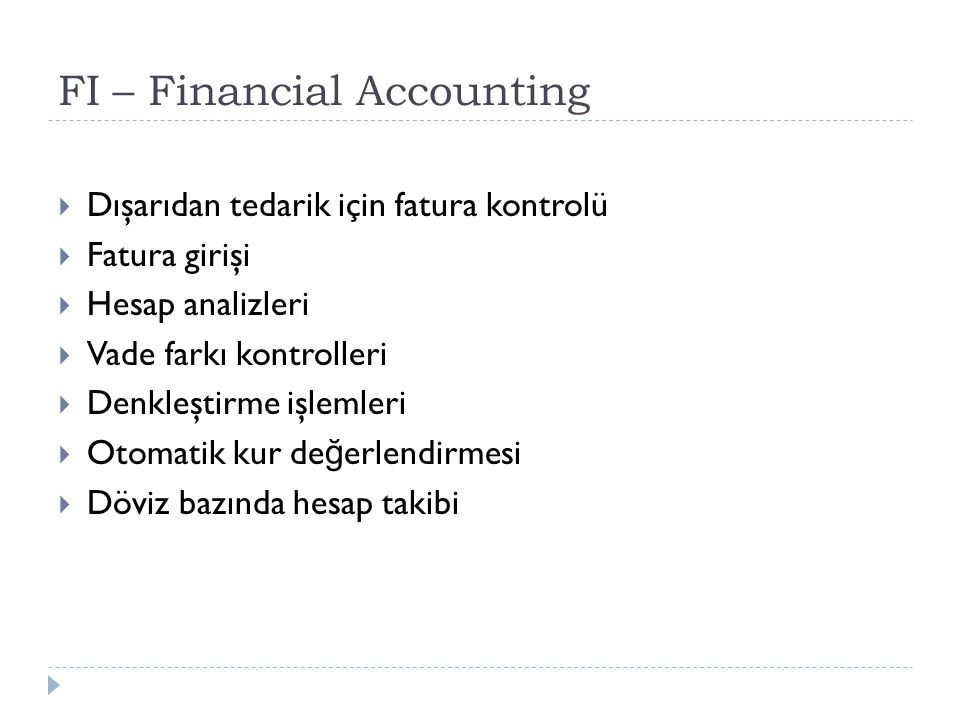 FI – Financial Accounting