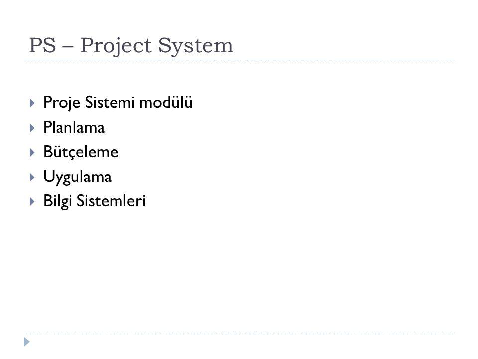 PS – Project System Proje Sistemi modülü Planlama Bütçeleme Uygulama