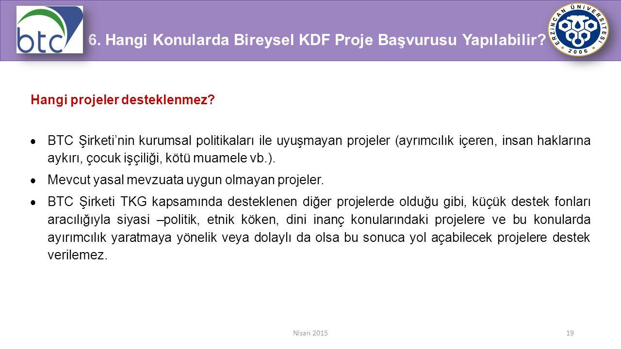 6. Hangi Konularda Bireysel KDF Proje Başvurusu Yapılabilir