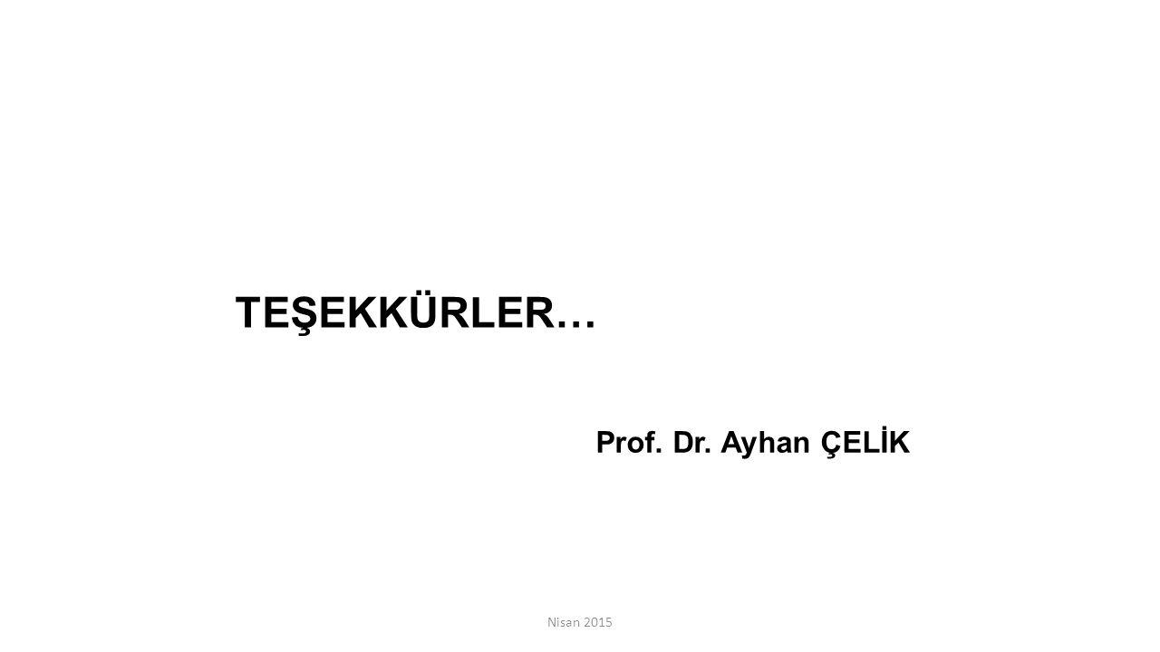 TEŞEKKÜRLER… Prof. Dr. Ayhan ÇELİK Nisan 2015