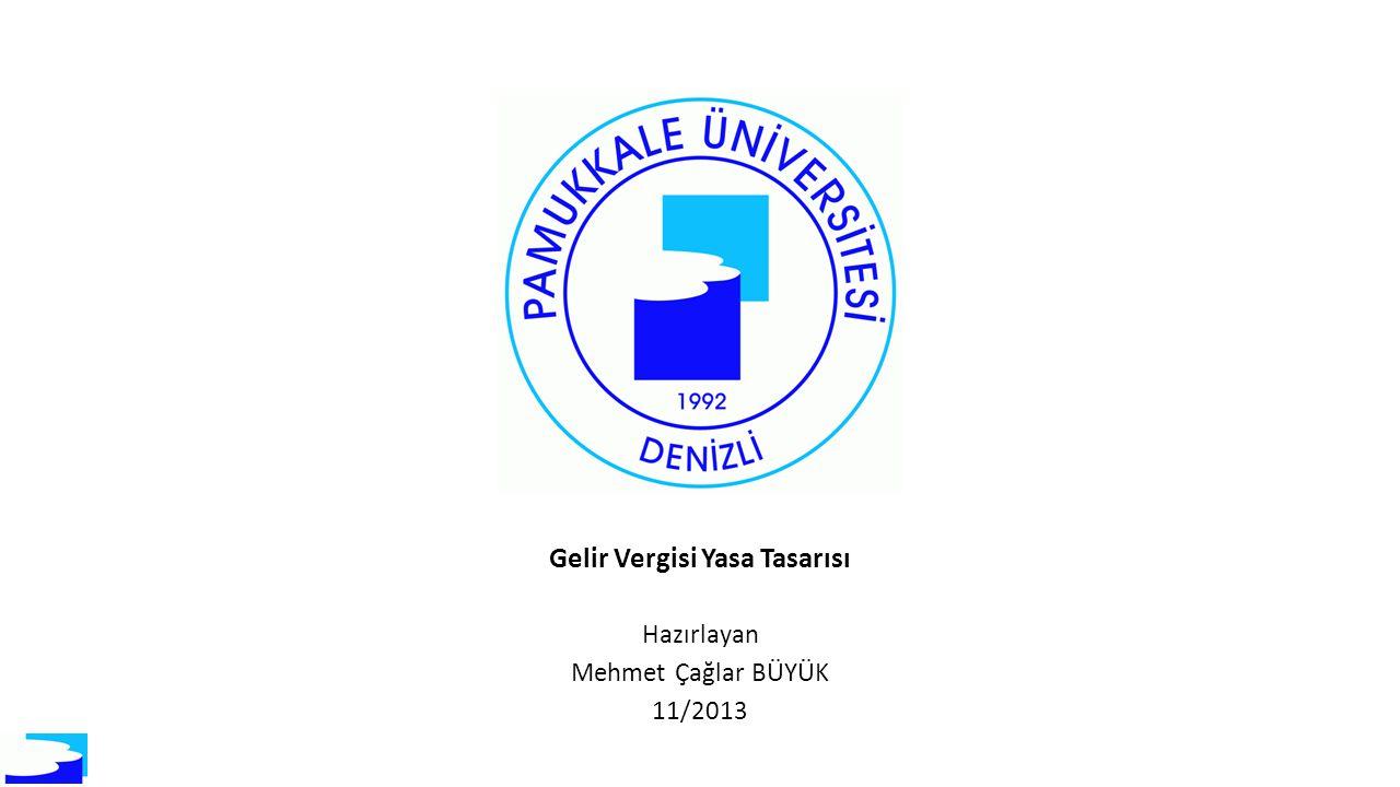 Gelir Vergisi Yasa Tasarısı Hazırlayan Mehmet Çağlar BÜYÜK 11/2013