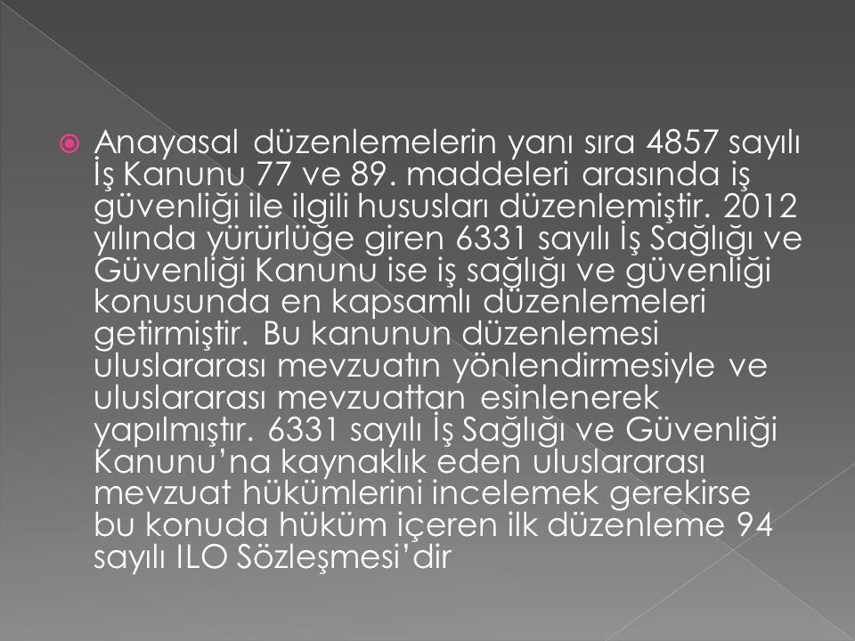 Anayasal düzenlemelerin yanı sıra 4857 sayılı İş Kanunu 77 ve 89
