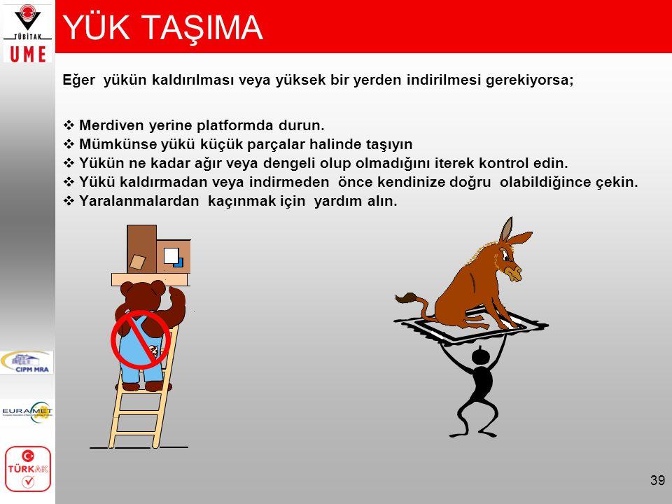 YÜK TAŞIMA Eğer yükün kaldırılması veya yüksek bir yerden indirilmesi gerekiyorsa; Merdiven yerine platformda durun.