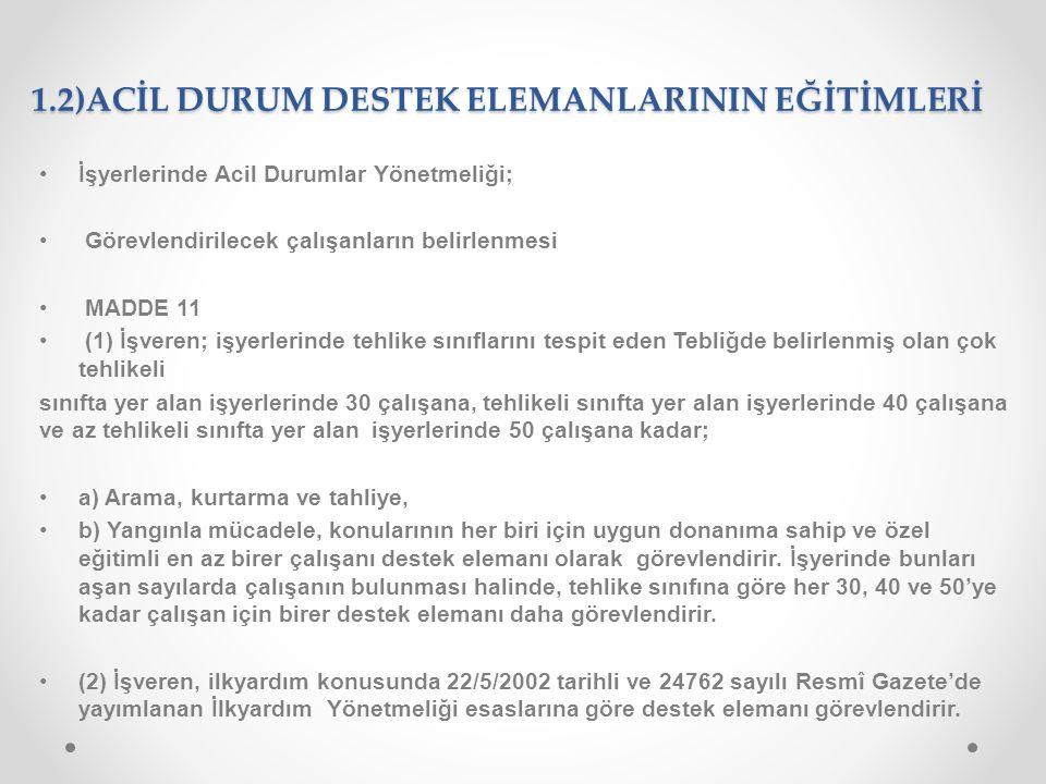 1.2)ACİL DURUM DESTEK ELEMANLARININ EĞİTİMLERİ