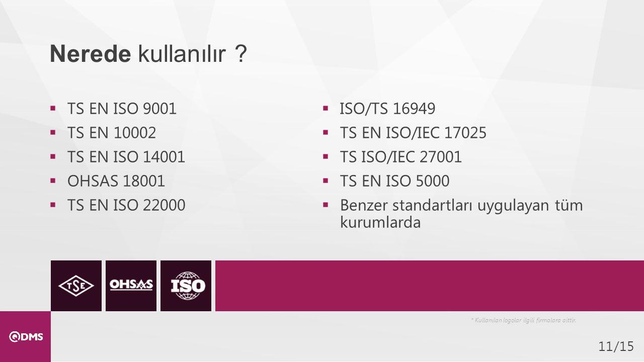Nerede kullanılır TS EN ISO 9001 ISO/TS 16949 TS EN 10002