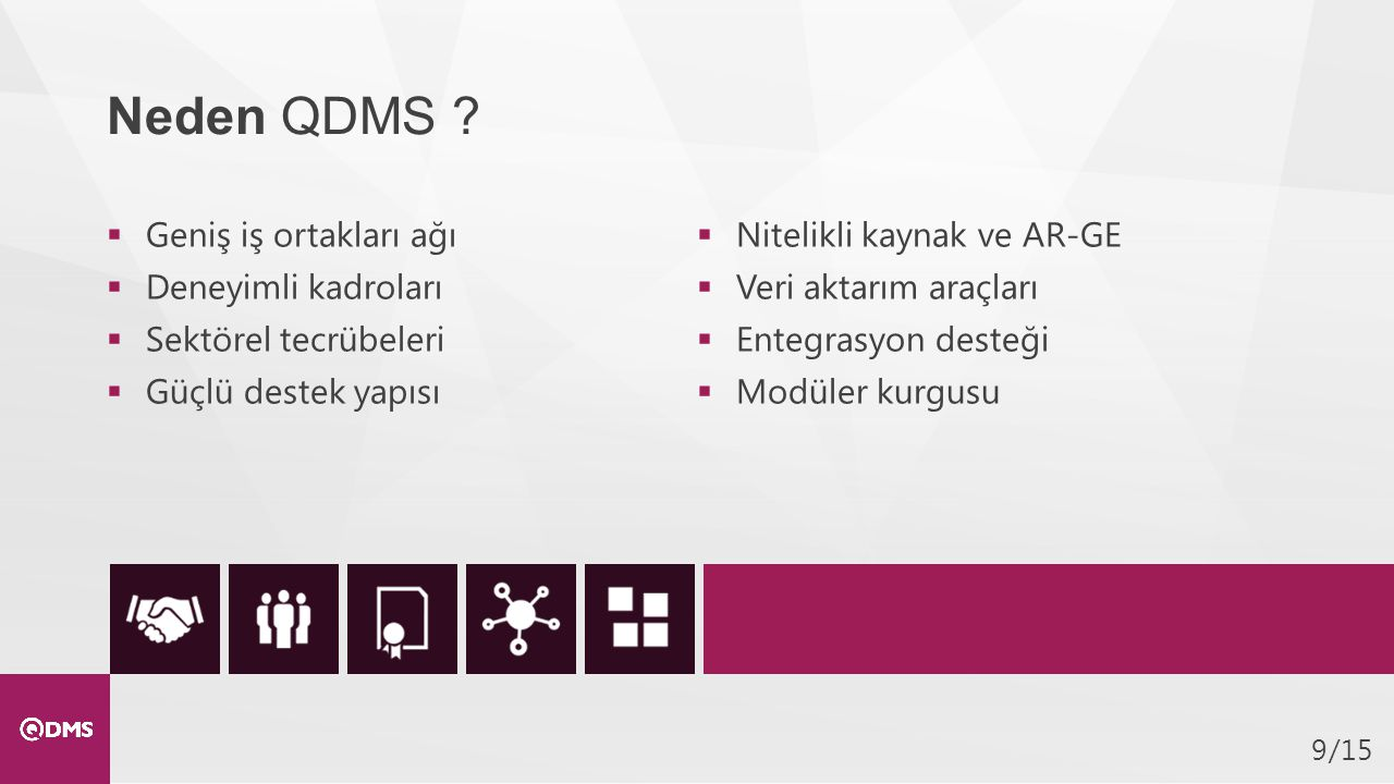 Neden QDMS Geniş iş ortakları ağı Nitelikli kaynak ve AR-GE