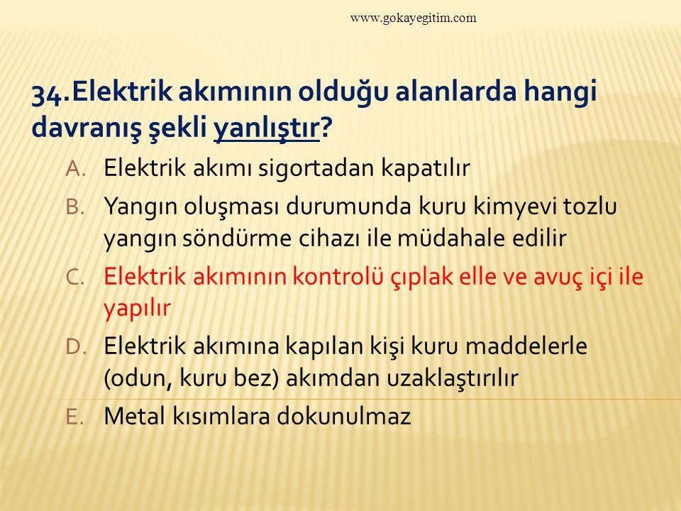 34.Elektrik akımının olduğu alanlarda hangi davranış şekli yanlıştır