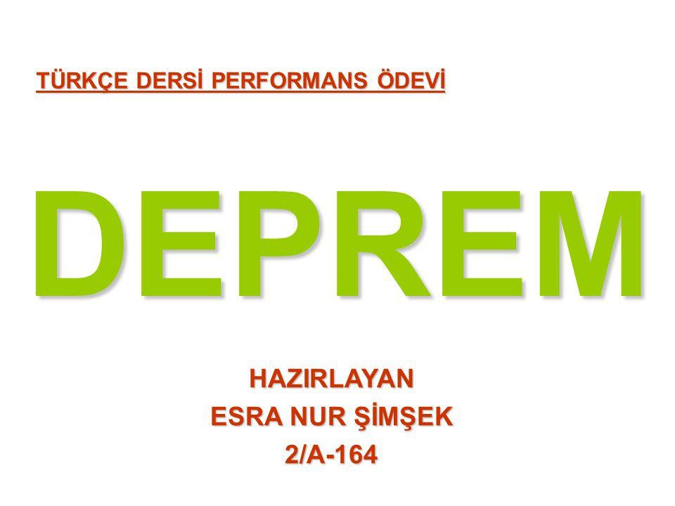 DEPREM HAZIRLAYAN ESRA NUR ŞİMŞEK 2/A-164
