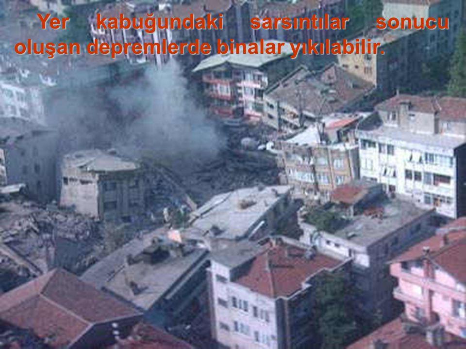 Yer kabuğundaki sarsıntılar sonucu oluşan depremlerde binalar yıkılabilir.