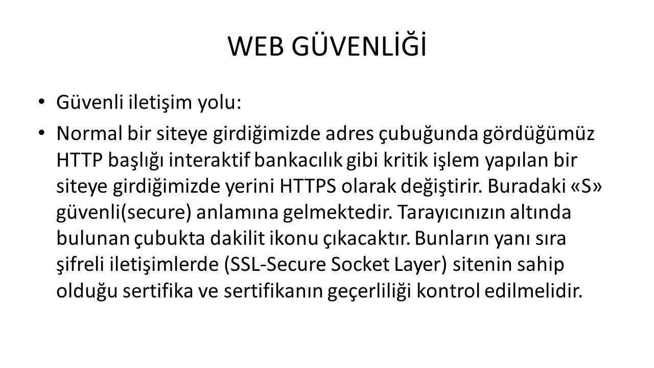 WEB GÜVENLİĞİ Güvenli iletişim yolu: