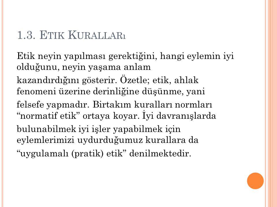 1.3. Etik Kuralları