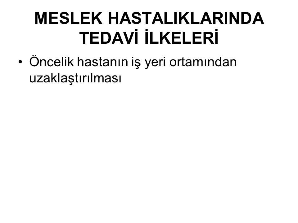 MESLEK HASTALIKLARINDA TEDAVİ İLKELERİ
