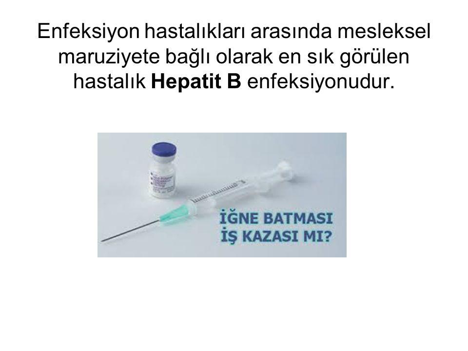 Enfeksiyon hastalıkları arasında mesleksel maruziyete bağlı olarak en sık görülen hastalık Hepatit B enfeksiyonudur.