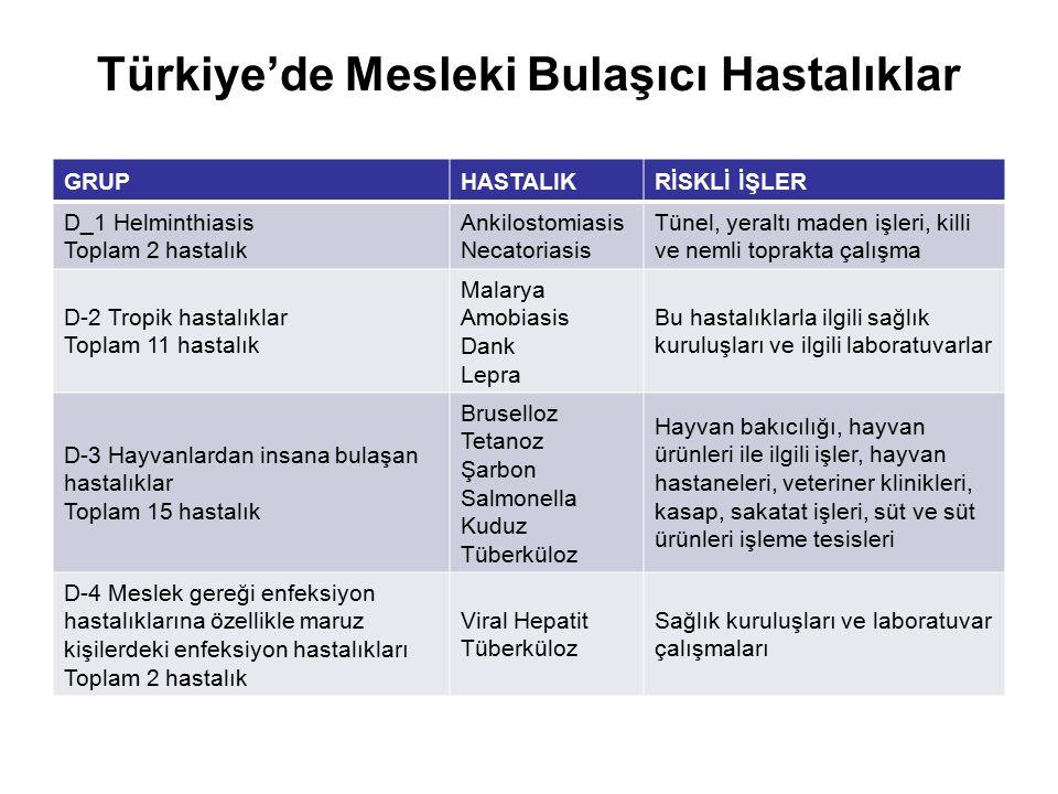 Türkiye'de Mesleki Bulaşıcı Hastalıklar