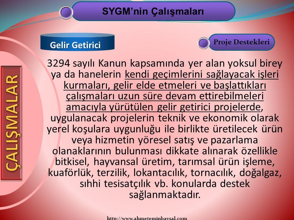 SYGM'nin Çalışmaları Gelir Getirici. Proje Destekleri.