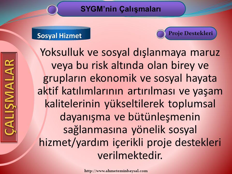 SYGM'nin Çalışmaları Sosyal Hizmet. Proje Destekleri.