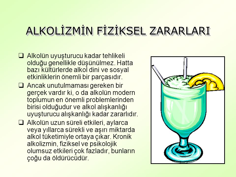 ALKOLİZMİN FİZİKSEL ZARARLARI