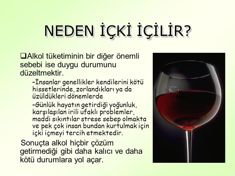 NEDEN İÇKİ İÇİLİR Alkol tüketiminin bir diğer önemli sebebi ise duygu durumunu düzeltmektir.