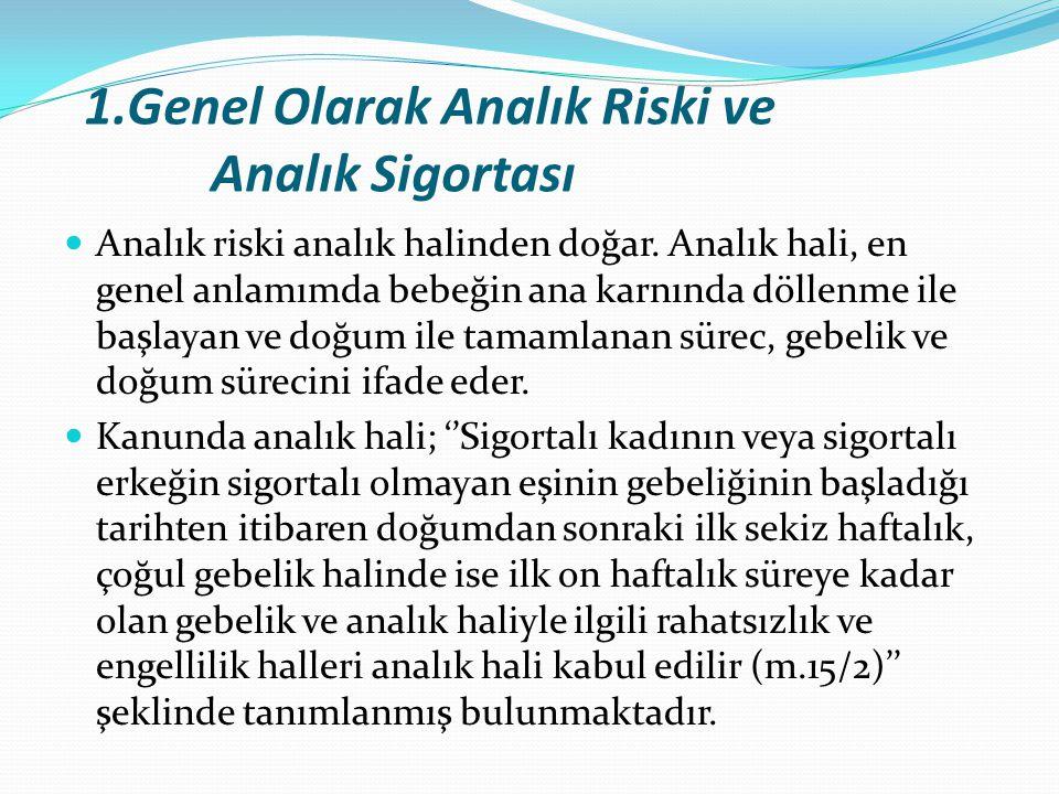 1.Genel Olarak Analık Riski ve Analık Sigortası