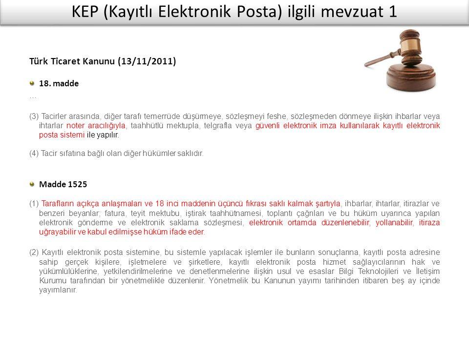 KEP (Kayıtlı Elektronik Posta) ilgili mevzuat 1