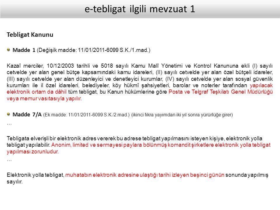 e-tebligat ilgili mevzuat 1
