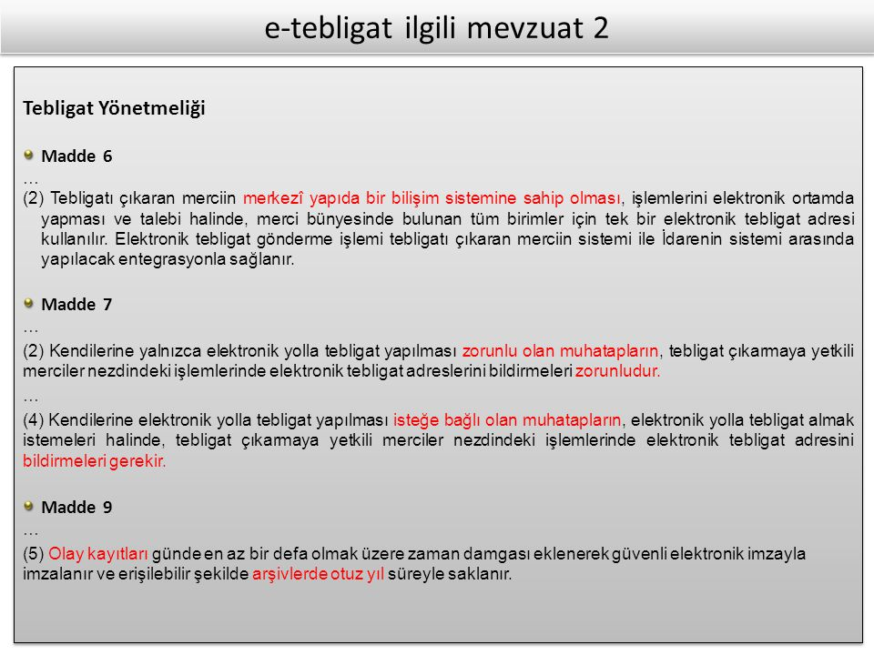 e-tebligat ilgili mevzuat 2