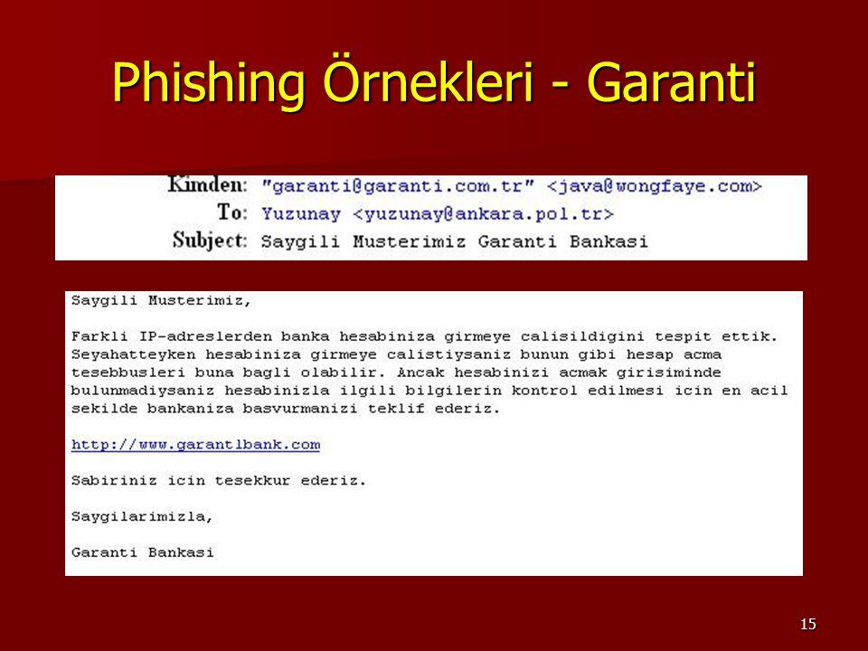 Phishing Örnekleri - Garanti