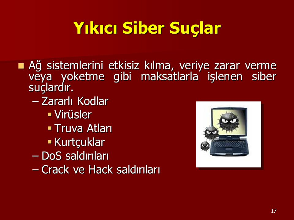 Yıkıcı Siber Suçlar Ağ sistemlerini etkisiz kılma, veriye zarar verme veya yoketme gibi maksatlarla işlenen siber suçlardır.