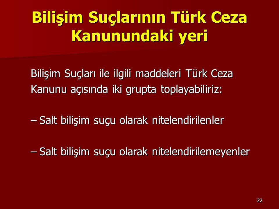 Bilişim Suçlarının Türk Ceza Kanunundaki yeri
