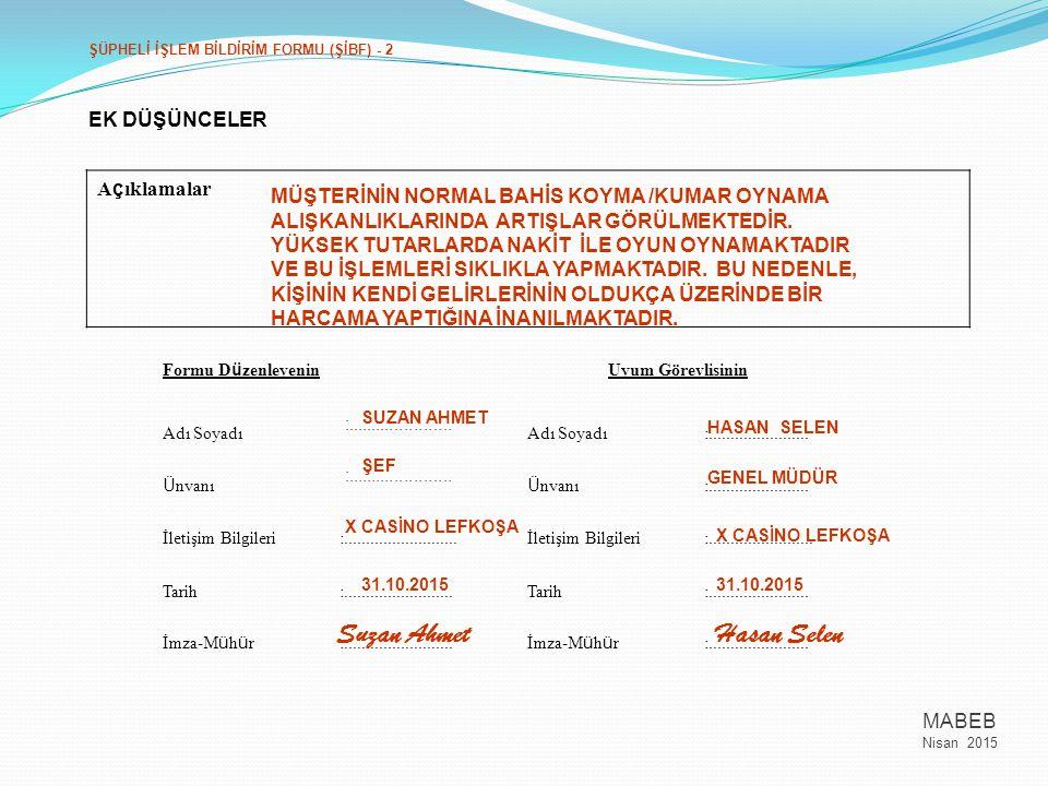 Suzan Ahmet Hasan Selen Açıklamalar EK DÜŞÜNCELER