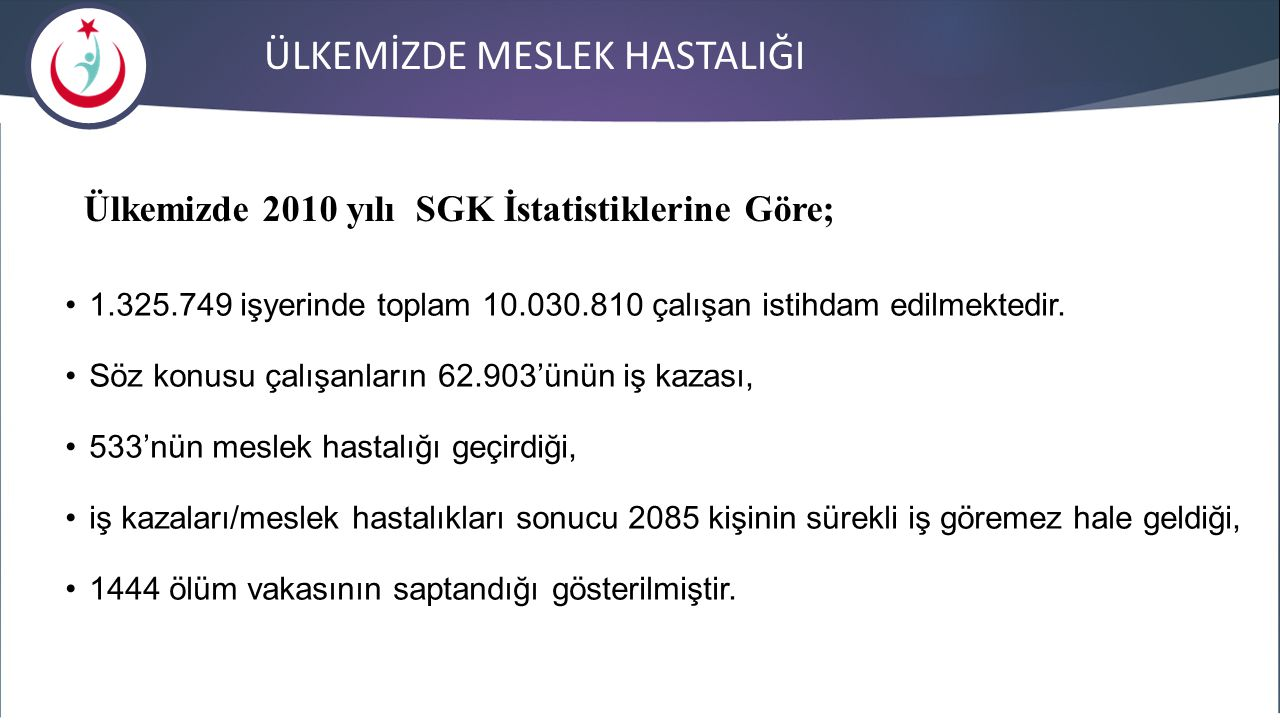 Ülkemizde 2010 yılı SGK İstatistiklerine Göre;