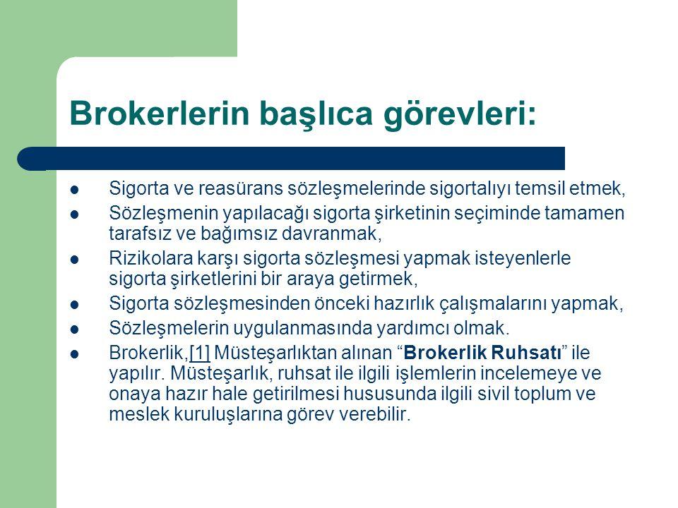 Brokerlerin başlıca görevleri: