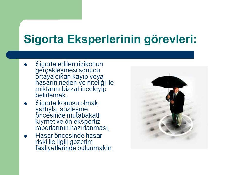 Sigorta Eksperlerinin görevleri: