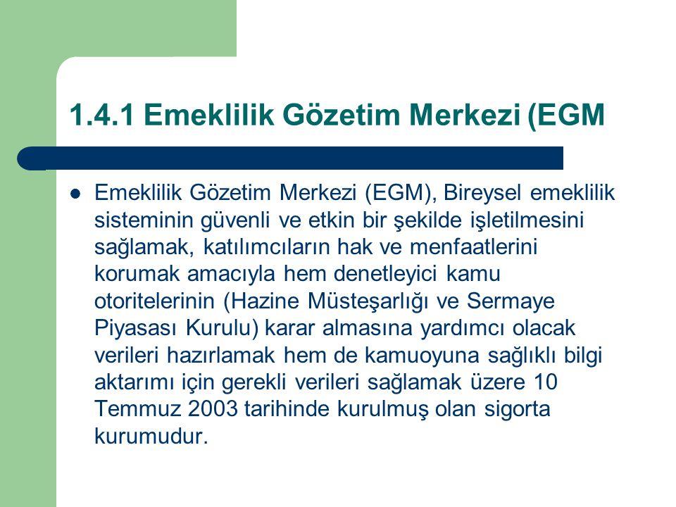 1.4.1 Emeklilik Gözetim Merkezi (EGM