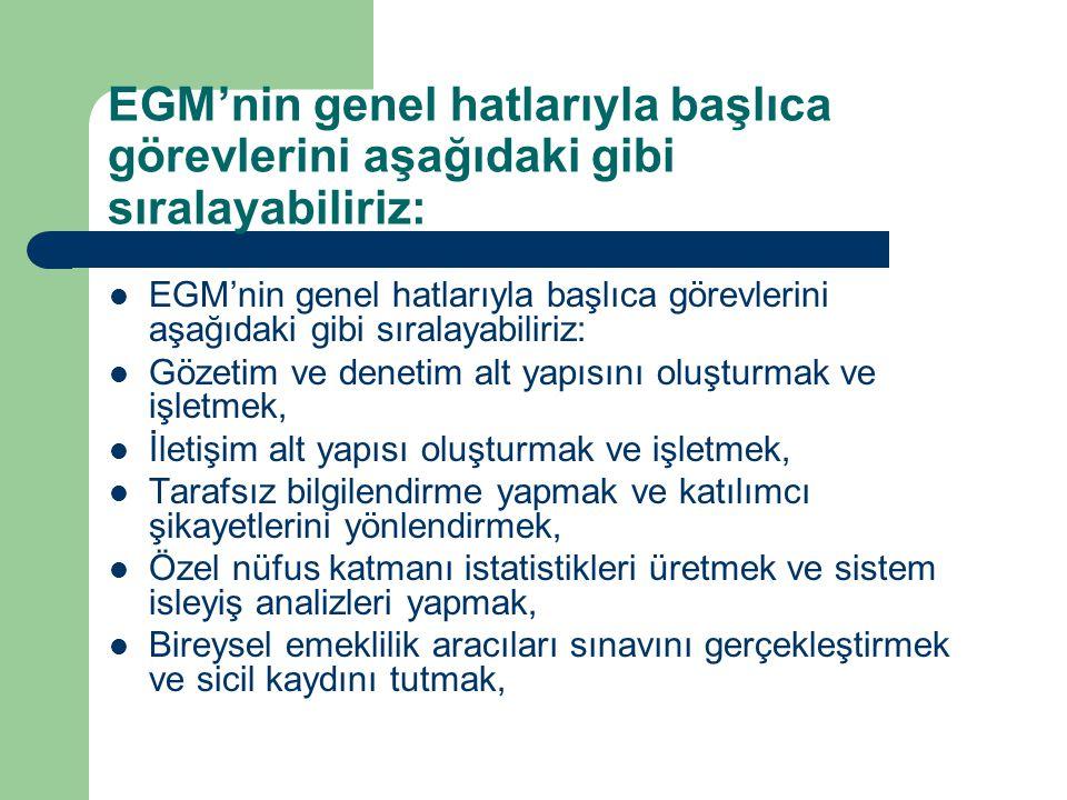 EGM'nin genel hatlarıyla başlıca görevlerini aşağıdaki gibi sıralayabiliriz: