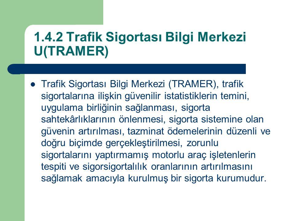 1.4.2 Trafik Sigortası Bilgi Merkezi U(TRAMER)