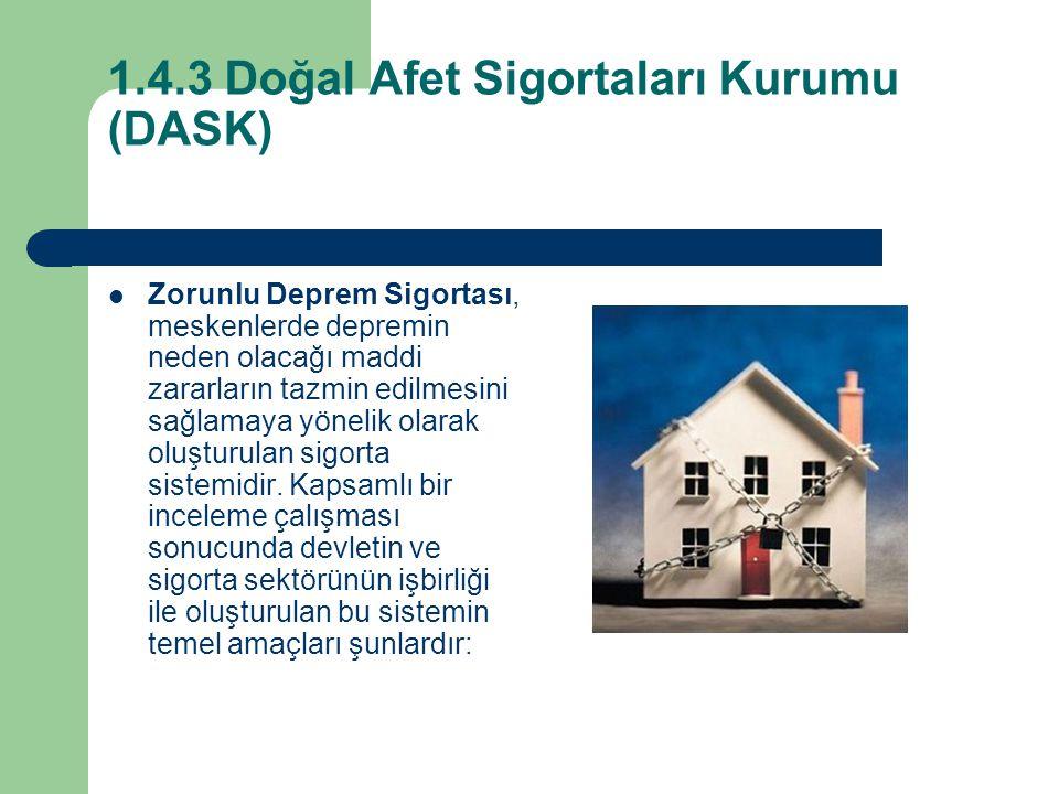 1.4.3 Doğal Afet Sigortaları Kurumu (DASK)