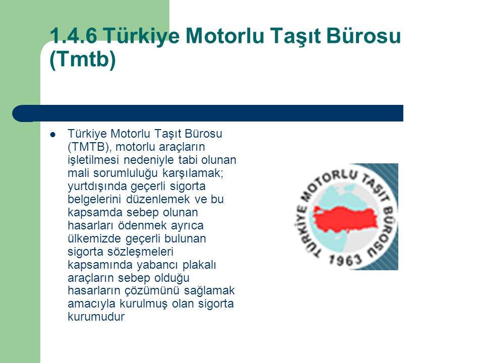 1.4.6 Türkiye Motorlu Taşıt Bürosu (Tmtb)