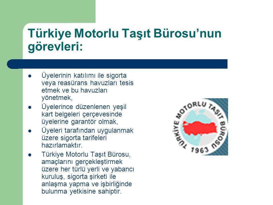 Türkiye Motorlu Taşıt Bürosu'nun görevleri:
