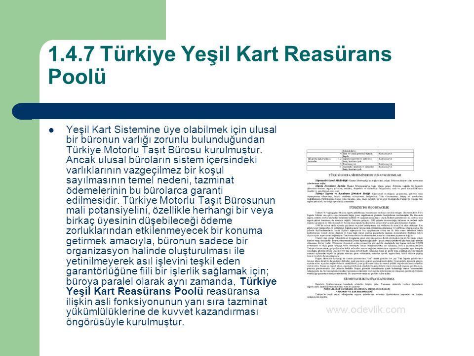 1.4.7 Türkiye Yeşil Kart Reasürans Poolü