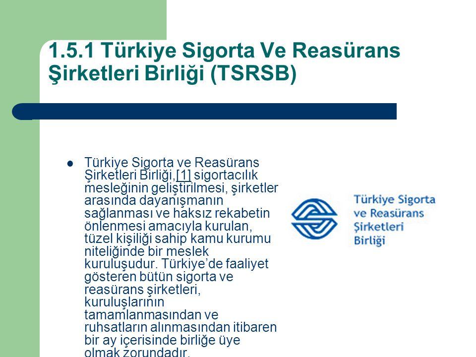 1.5.1 Türkiye Sigorta Ve Reasürans Şirketleri Birliği (TSRSB)