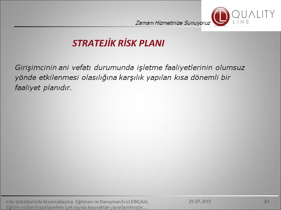 STRATEJİK RİSK PLANI
