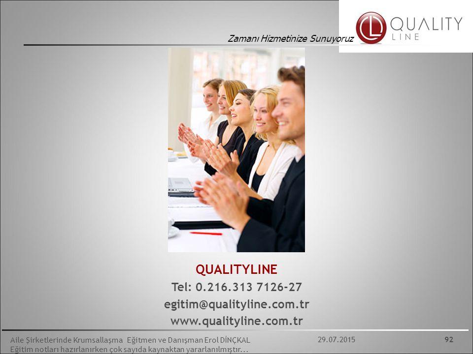 QUALITYLINE Tel: 0.216.313 7126-27 egitim@qualityline.com.tr
