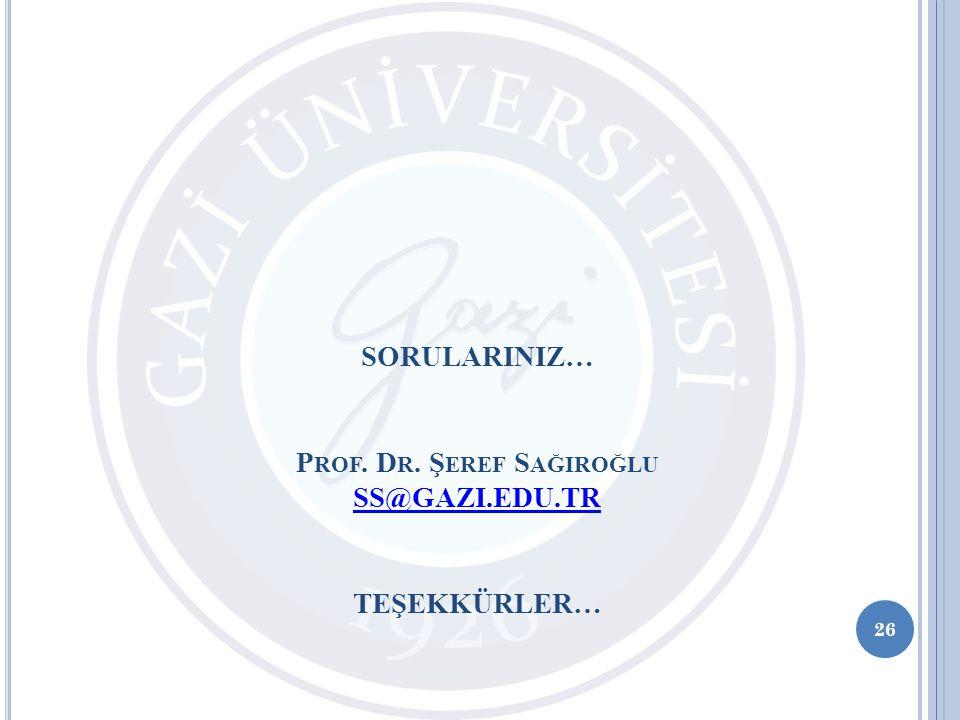 Prof. Dr. Şeref Sağiroğlu