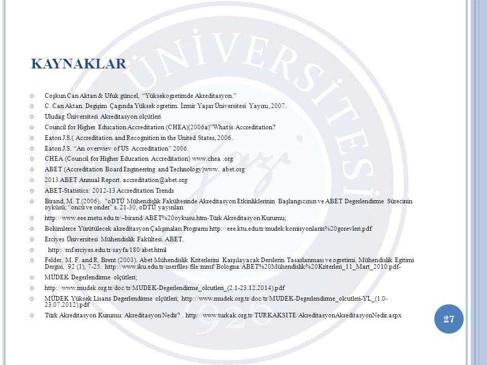 KAYNAKLAR Coşkun Can Aktan & Ufuk güncel, Yüksekogretimde Akreditasyon.