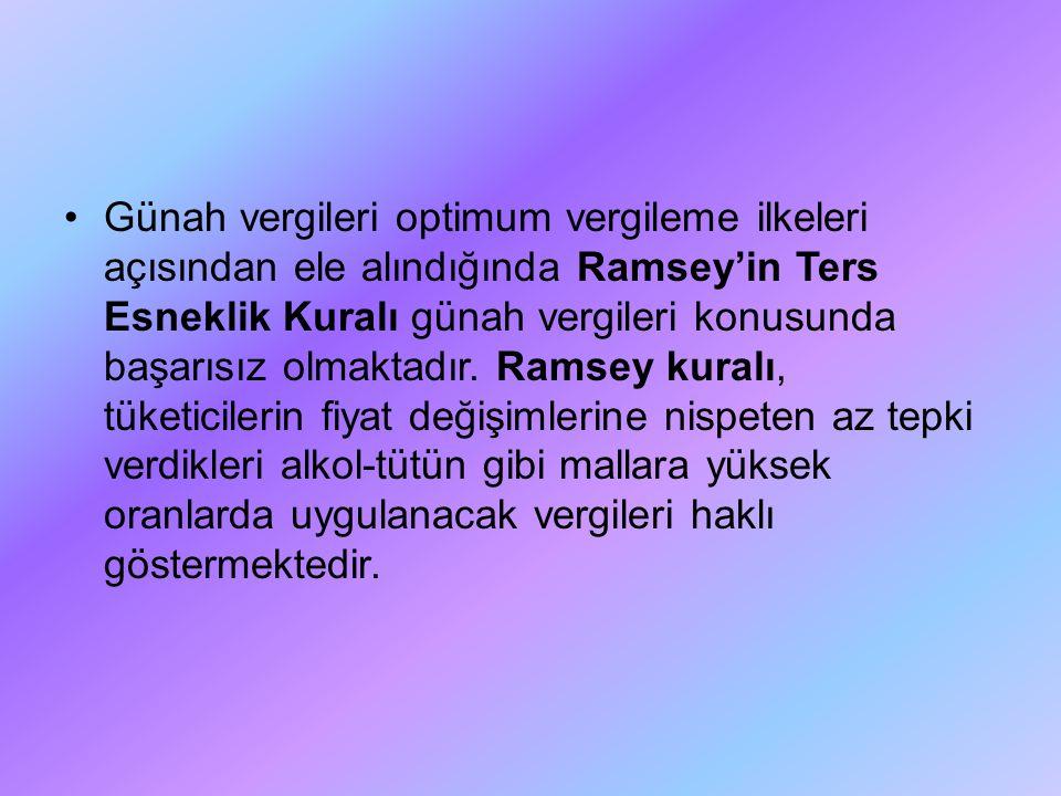Günah vergileri optimum vergileme ilkeleri açısından ele alındığında Ramsey'in Ters Esneklik Kuralı günah vergileri konusunda başarısız olmaktadır.