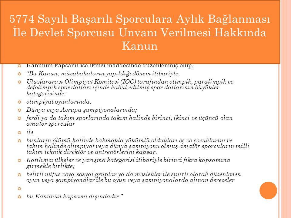 5774 Sayılı Başarılı Sporculara Aylık Bağlanması İle Devlet Sporcusu Unvanı Verilmesi Hakkında Kanun