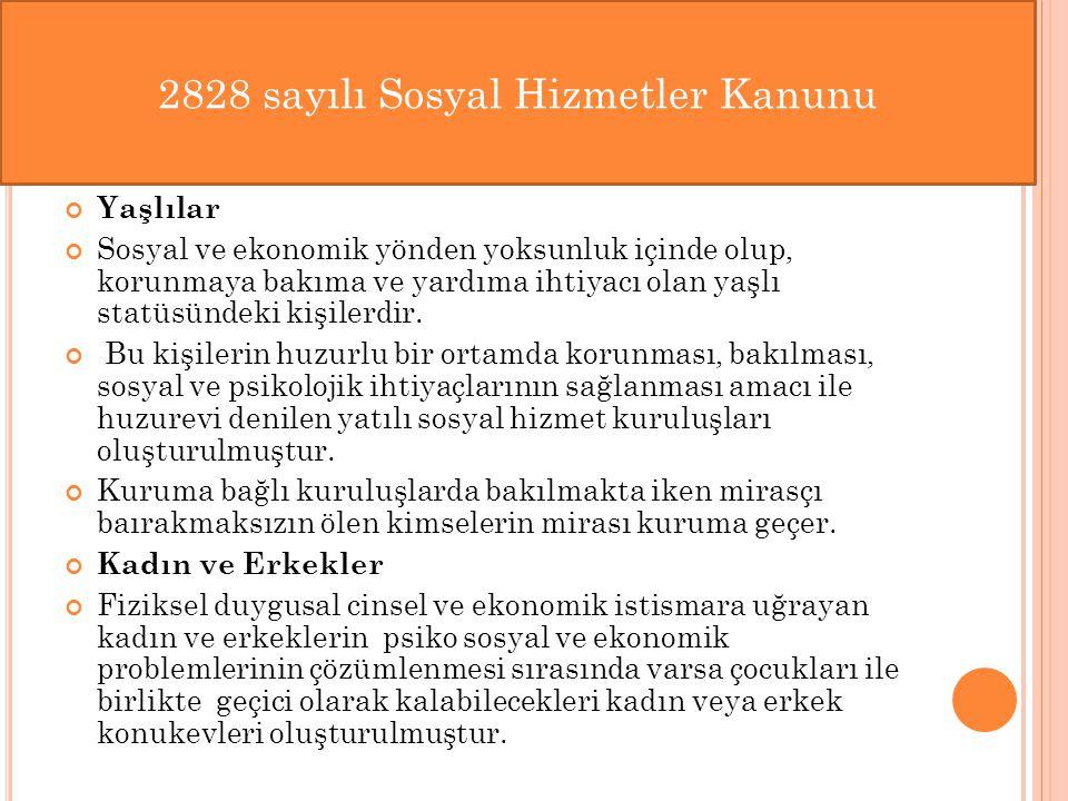 2828 sayılı Sosyal Hizmetler Kanunu